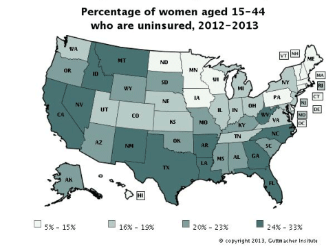 Percentage of women aged 15-44 who are uninsured, 2012-2013