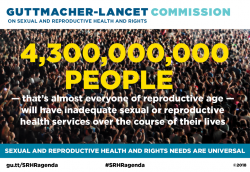 Graphic showing that 4.3 billion people of reproductive age lack adequate sexual and reproductive health care