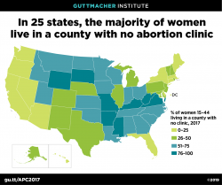 Image: map showing the majority of women live in a county with no abortion clinic