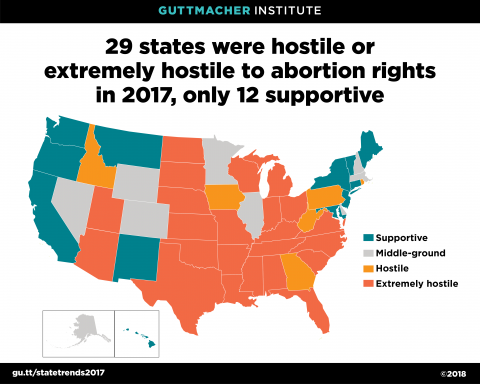 States Hostile to Abortion Rights, 2017