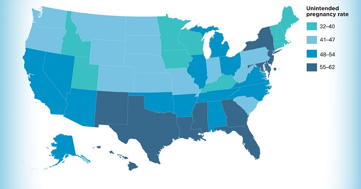 Unintended Pregnancy In The United States Guttmacher Institute - Find the us states on a blank map