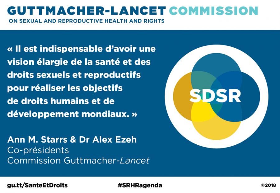Illustration de la citation d'Ann M. Starrs et du docteur Alex Ezeh sur la Commission Guttmacher-Lancet.